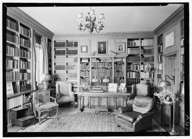 Edwin J. Beinecke, residence in Greenwich, Connecticut. Library, to table