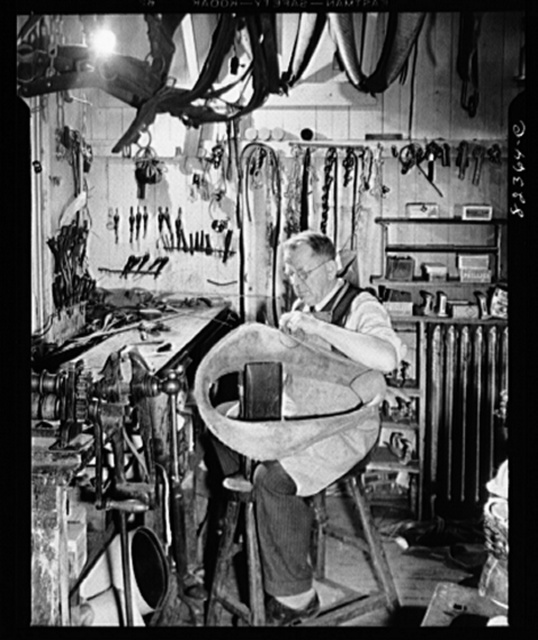 Ephrata, Pennsylvania. Harness repair man and shoemaker