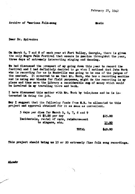 February 27, 1942, draft of memo by Alan Lomax suggesting recording the Fort Valley Festival