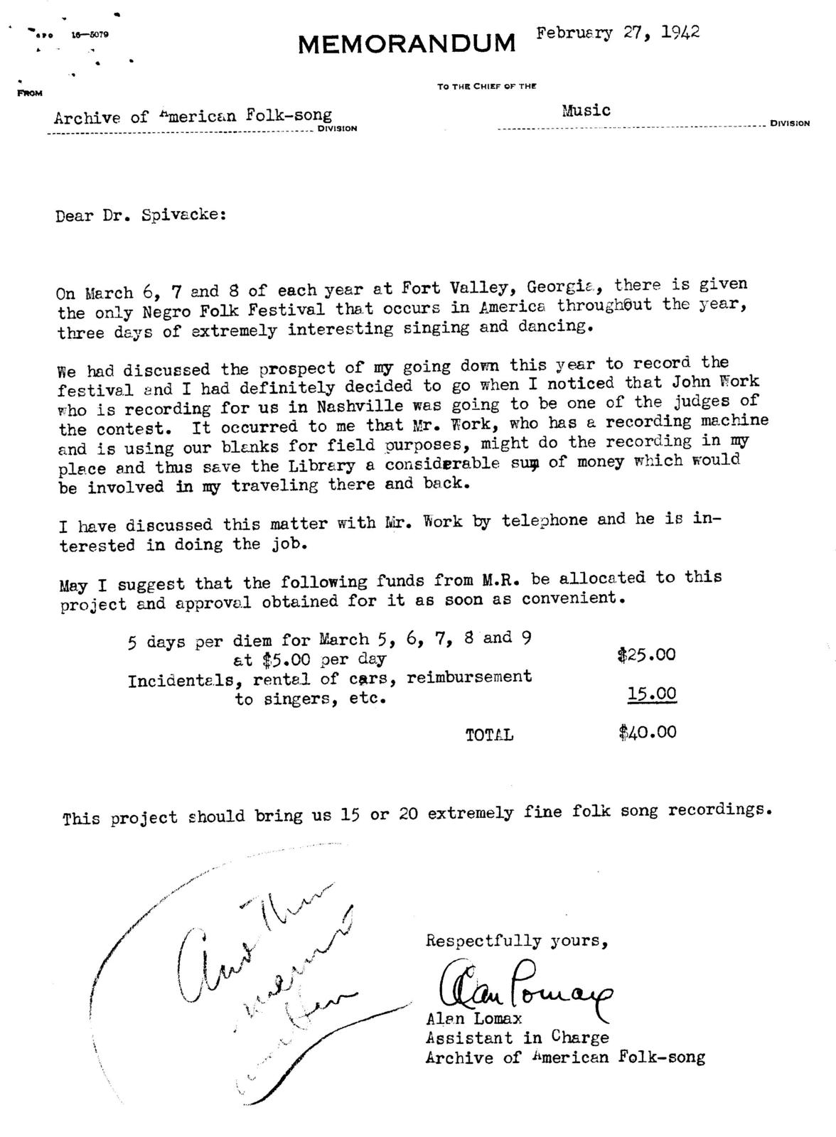 February 27, 1942, memo by Alan Lomax suggesting recording the Fort Valley Festival