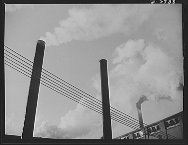 Fiberglass manufacture, Owens-Corning, Toledo, Ohio. Busy stacks give evidence of all-out war production effort at a plant of Owens-Corning Fiberglass Corporation