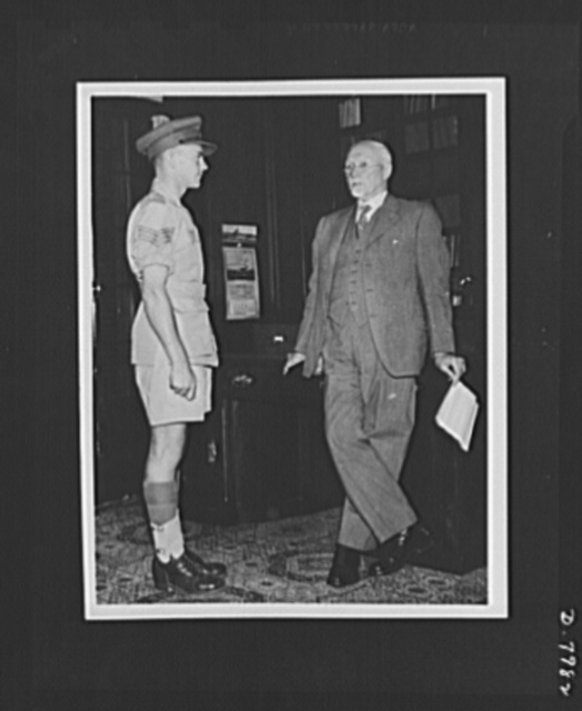 Field Marshall Smuts and Victoria Cross Winner. Latest official photograph of Field Marshall J.C. Smuts, currently in London to confer with British Prime Minister Churchill on the conduct of the war. He is shown in his office at Union Building, Pretoria, South Africa, greeting Sergeant Quintin Smythe who received the Victoria Cross for conspicuous gallantry in action in the North African Battlefield on June 5, 1942