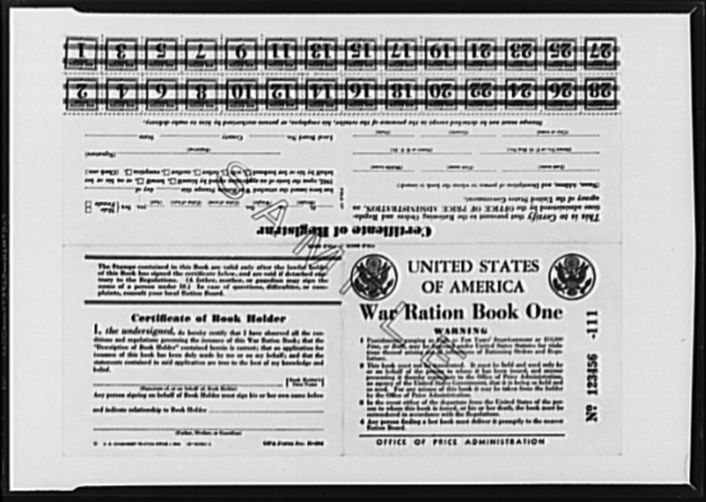 First war ration book. Facsimile of war ration book no. 1 to be used to ration sugar, issued today by the Office of Price Administration (OPA). Each stamp will be used to purchase a quantity of sugar still to be determined. When the sugar ration plan goes into effect, a specific stamp will be designed for use each week. Books under the direction of local rationing boards. Printing of the books will start next week