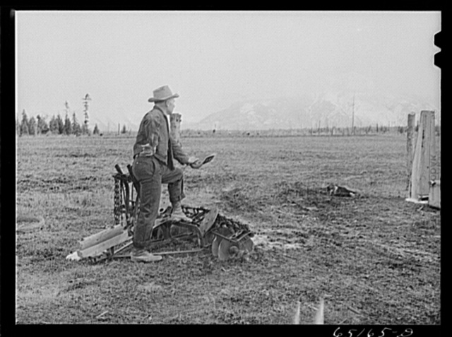Flathead Valley special area project, Montana. John Wardon looking over land he cleared last year with the aid of a FSA (Farm Security Administration) loan