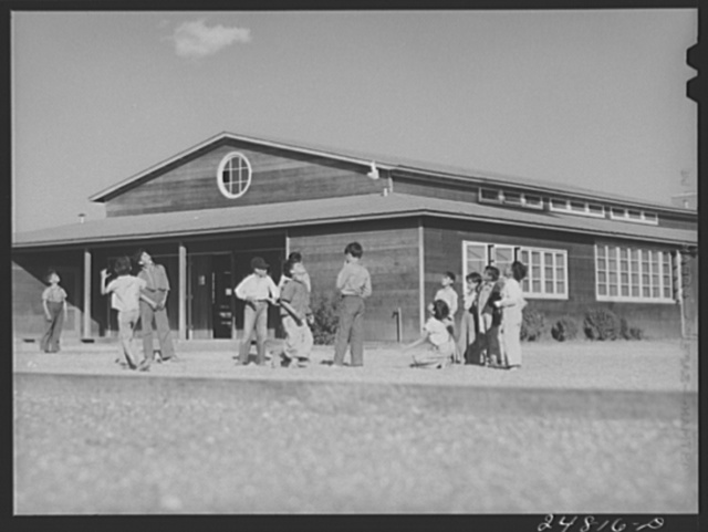 Flying model airplanes. FSA (Farm Security Administration) camp, Robstown, Texas