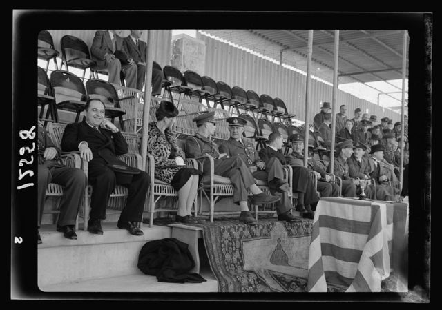 Football match on 'Y' field on Ap. 4, 1942 between Greek Air Force & 'Y' teams. King George of Greece present. Gen[eral view of grand stand with the king