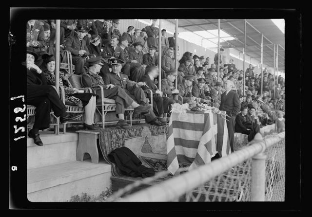 Football match on 'Y' field on Ap. 4, 1942 between Greek Air Force & 'Y' teams. King George of Greece present. Gen[eral] view of grand stand with the king