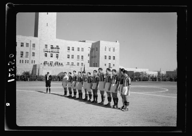 Football match on 'Y' field on Ap. 4, 1942 between Greek Air Force & 'Y' teams. King George of Greece present. The Y.M.C.A. team