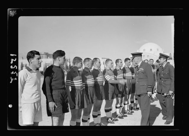 Football match on 'Y' field on Ap. 4, 1942 between Greek Air Force & 'Y' teams. King George of Greece present. The Greek team introduced to Air Commador
