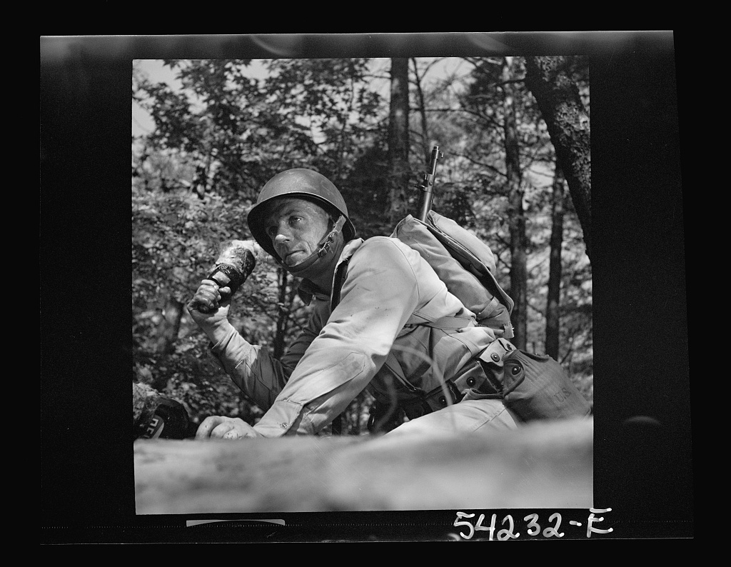 Fort Belvoir, Virginia. A soldier throwing a hand grenade