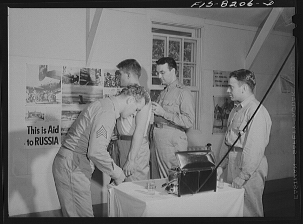 Fort Belvoir, Virginia. George Camblair getting his injections at the reception center