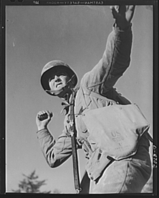 Fort Belvoir, Virginia. Grenade throwers. A package for Hitler. An infantryman in training at Fort Belvoir, Virginia prepares to hurl a pineapple of the inedible variety. American soldiers make good grenade throwers