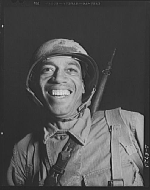 Fort Belvoir, Virginia. Negro infantry. This Negro infantryman in training at Fort Belvoir, Virginia represents a good type of soldier. When the Engineer Corps regiment to which he belongs is graduated from Fort Belvoir he will be well prepared for military duty