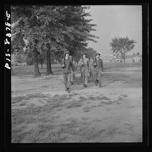 Fort Belvoir, Virginia. Sergeant George Camblair drilling with the rest of his buddies