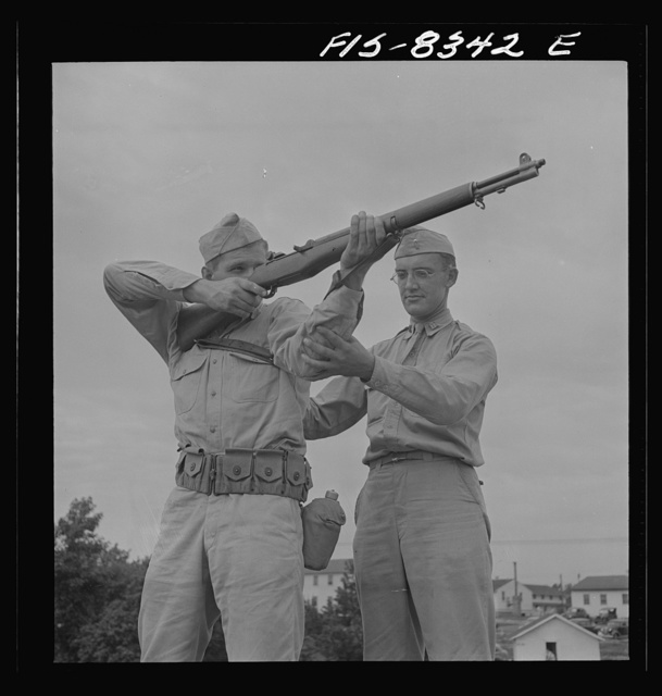 Fort Belvoir, Virginia. Sergeant George Camblair getting instruction on the rifle range