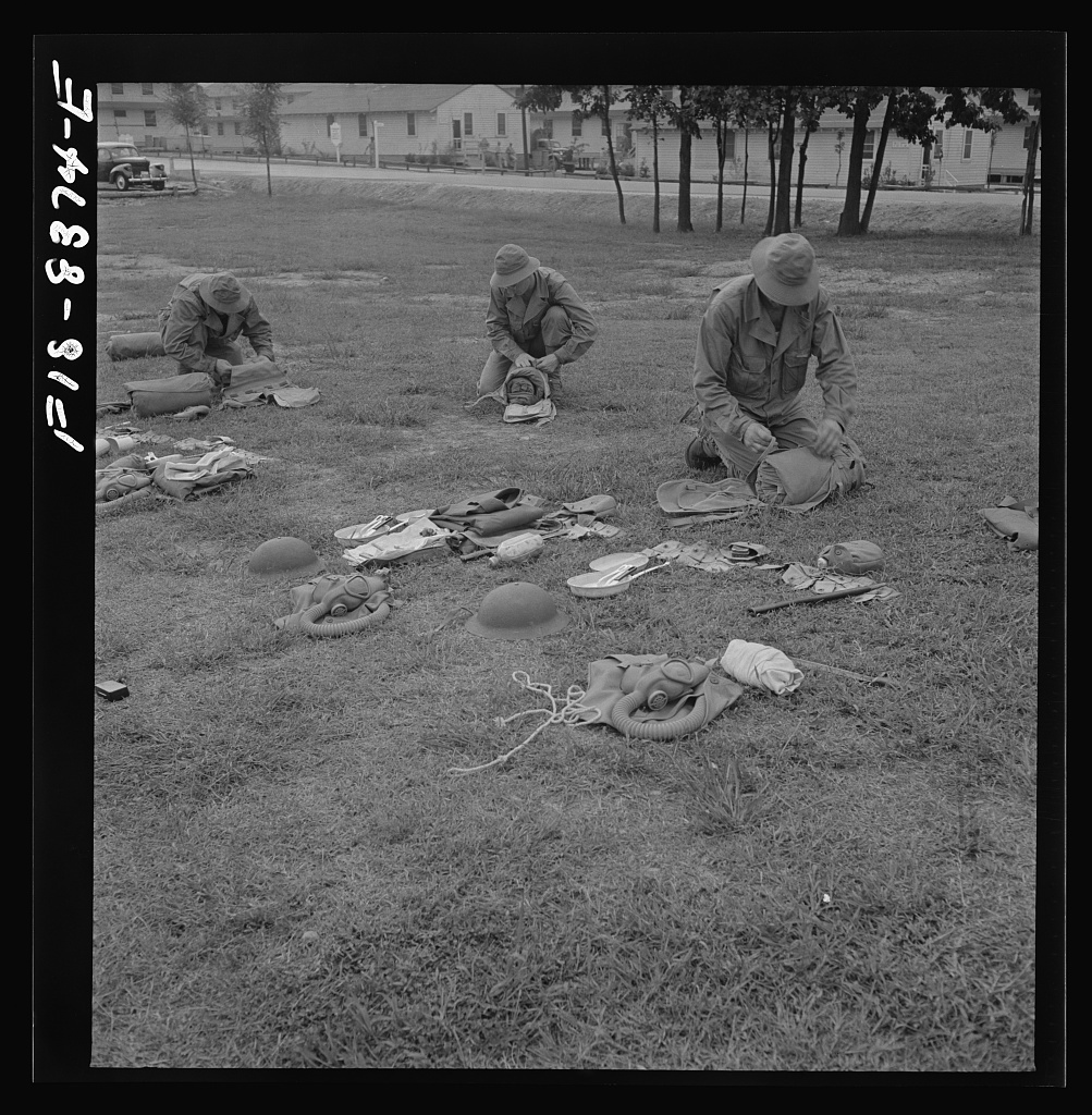 Fort Belvoir, Virginia. Sergeant George Camblair learning how to make up his pack