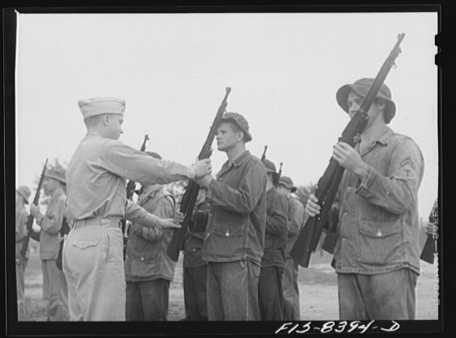 Fort Belvoir, Virginia. Sergeant George Camblair learning the manual of arms