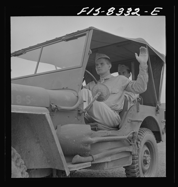 Fort Belvoir, Virginia. Sergeant George Camblair learning to drive a jeep