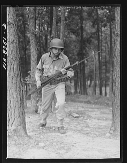 Fort Belvoir, Virginia. Sergeant George Camblair learning to use the bayonet