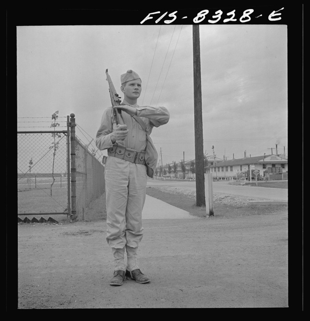 Fort Belvoir, Virginia. Sergeant George Camblair on sentry duty at camp