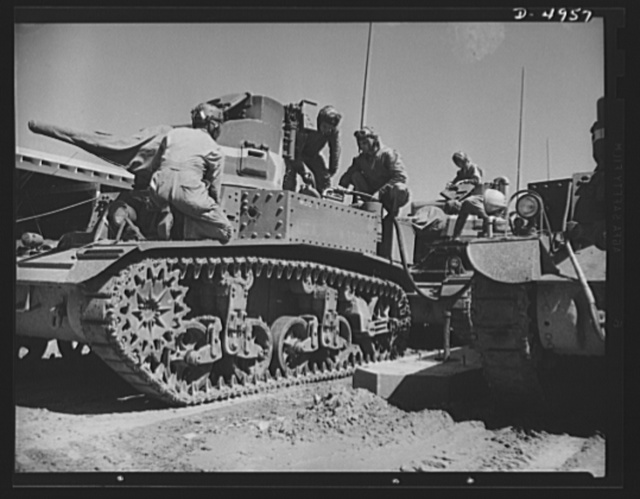 Fort Benning armored forces. An old type, light tank gives armored forces trainees at Fort Benning, Georgia their first experience with mechanized fighting equipment