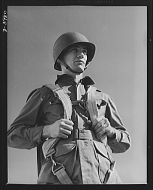Fort Benning. Parachute troops. Uncle Sam picks a high type of man for a parachute infantryman. This student paratrooper at Fort Benning, Goergia has just completed a descent of which any oldtimer would be proud
