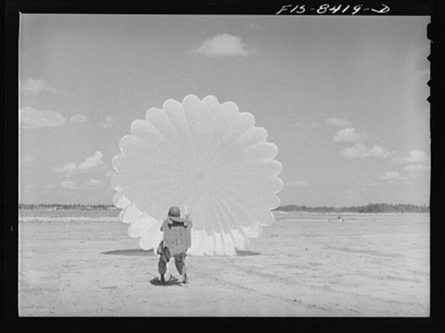 Fort Bragg, North Carolina. Parachutist in a military demonstration