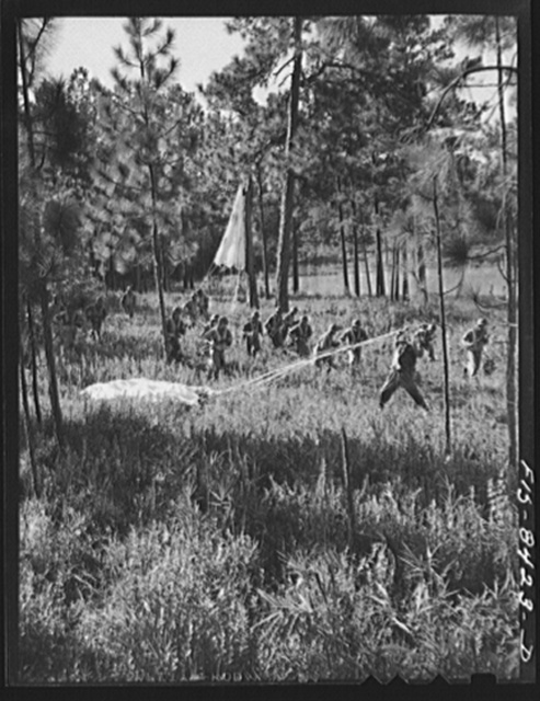 Fort Bragg, North Carolina. Parachutists advancing through the woods after landing in a military demonstration