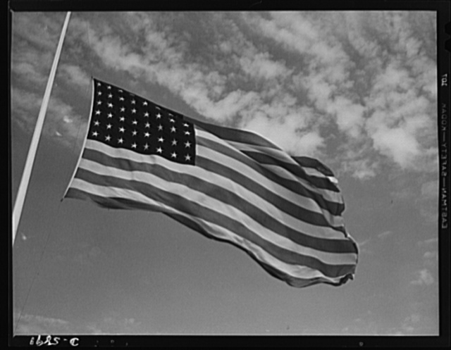 """Fort Knox flags. High above Fort Knox, Kentucky, over a true """"home of the brave,"""" the floating folds of the Star Spangled Banner symbolize the American way of life to soldiers in training for the battles that will bring freedom to an unhappy, war-torn world"""