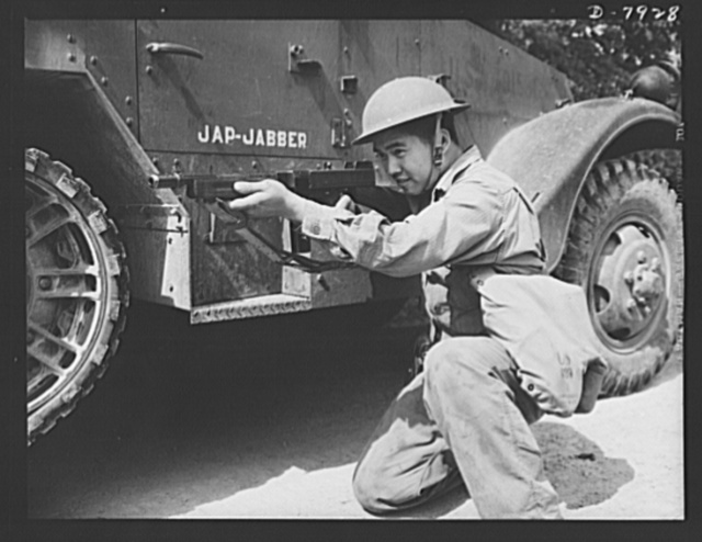 Fort Knox. Halftrac crews. A valued Chinese member of a halftrac armored car crew at Fort Knox, Kentucky, learns the art of making it hot for the Axis in any battle situation. The Fort Knox school for men of the armored service is teaching many American soldiers how to use mechanized striking equipment to best advantage. Its graduates are now on many of our far-flung battle lines, ready to meet the enemy on more than even terms