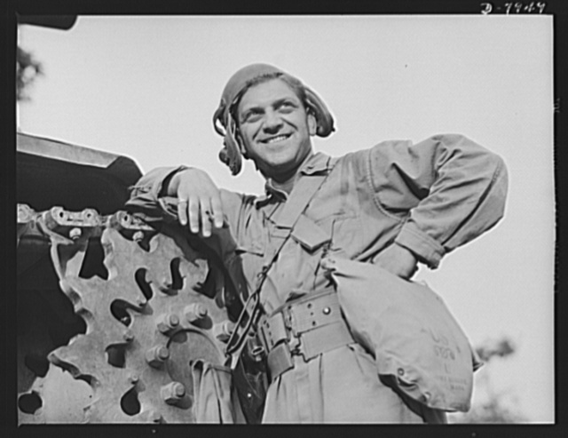 """Fort Knox. M-3 tank crews. A hardy """"tanker"""" for the Bronx, in training at Fort Knox, Kentucky. The Fort Knox school for tank crews has graduated many men who are now ready to meet the Axis on our far-flung battle lines and on more than equal terms"""