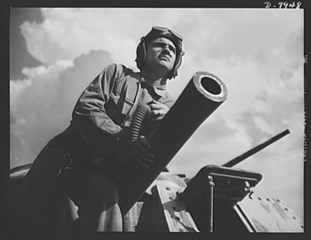 """Fort Knox. M-3 tank crews. An M-3 tank, a 75mm cannon and a determined """"tanker"""" at Fort Knox, Kentucky. The Fort Knox school for tank crews has graduated many men who are now ready to meet the enemy on our far-flung battle lines and on more than equal terms"""