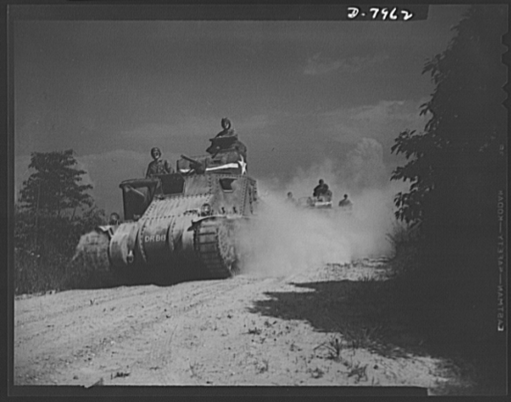 Fort Knox. M-3 tank crews. Mighty M-3 tanks carry their hard-boiled crews along a road in the military reservation at Fort Knox, Kentucky, learn all the ways of causing trouble for the Axis with. The Fort Knox school for tank crews has graduated many men who are now ready to meet the Axis on our far-flung battle lines and on more than equal terms