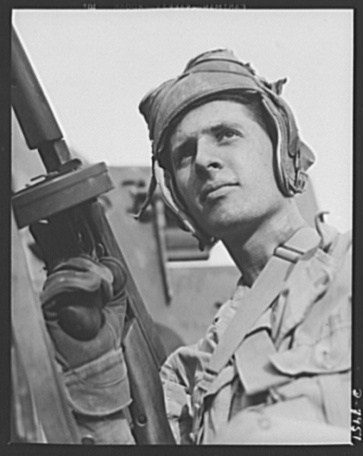 Fort Knox. M-3 tank crews. This capable member of a M-3 tank crew in training at Fort Knox, Kentucky, is a handy man with a machine gun. The Fort Knox school for tank crews has graduated many men who are now ready to meet the Axis on our far-flung battle lines and on more than equal terms