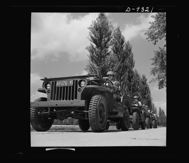 Fort Myer, Virginia. Jeeps on parade at Fort Myer, Virginia, at ceremonies honoring Staff Sergeant Jackson L. Dietz, Jr. and Technical Sergeant Raymond Davidson, for rescuing a comrade from a fire in the company machine shop