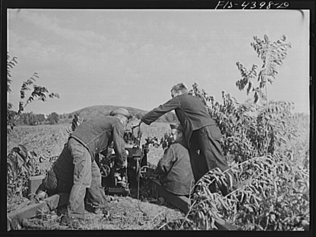 Fort Riley, Kansas. Artillery practice. Loading howitzer 75 mm gun