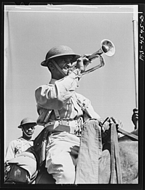 Fort Riley, Kansas. Bugler of G troop of the 10th Cavalry brigade