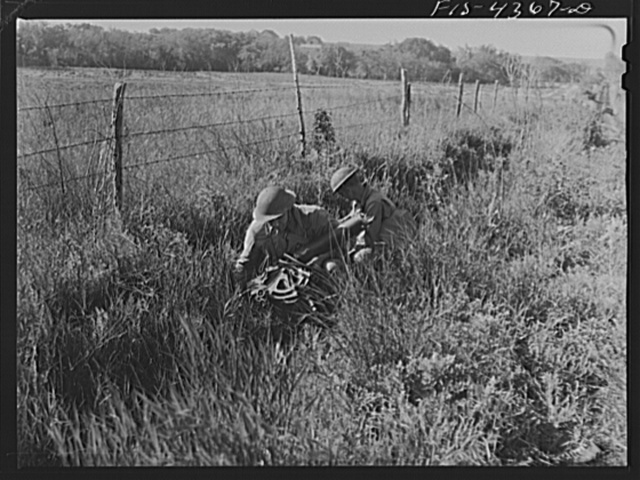 Fort Riley, Kansas. During a field problem of a mechanized cavalry reconnaissance unit