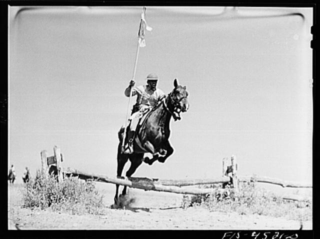 Fort Riley, Kansas. Standard bearer of a machine gun platoon of the cavalry