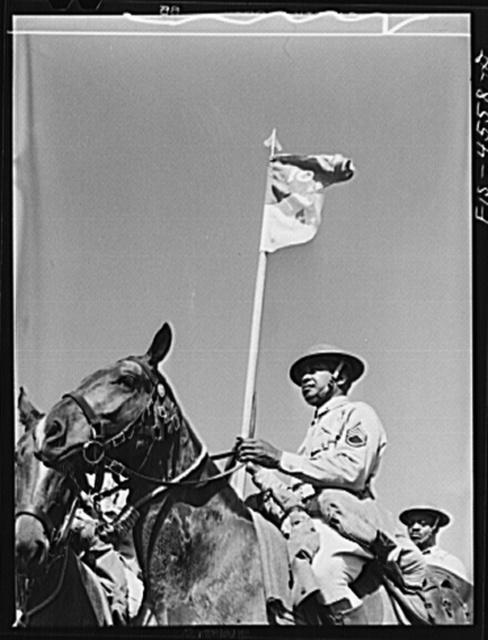 Fort Riley, Kansas. Standard bearer of G troop of the 10th Cavalry brigade