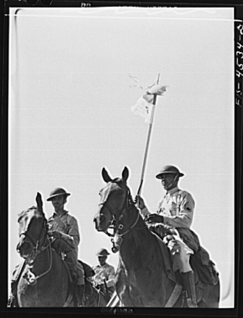 Fort Riley, Kansas. Standard bearer of G troop of the 10th Cavalry brigade
