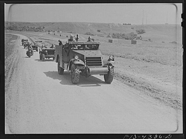 Fort Riley, Kansas. Units of a reconnaissance platoon going back to camp after a day in the field