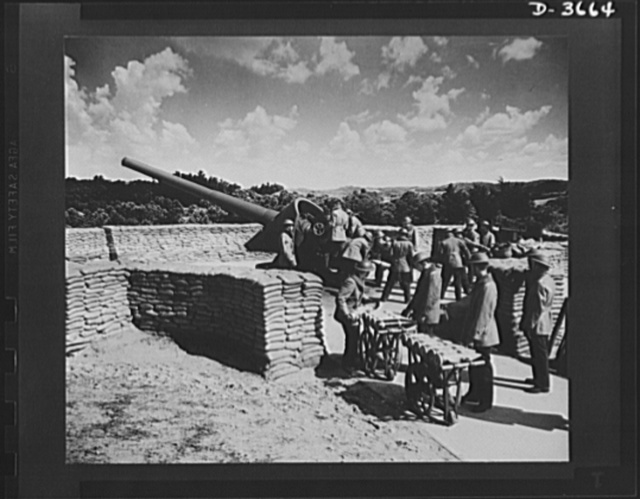 Fort Story coast defense. Loading projectiles into a giant shore gun at Fort Story, Virginia