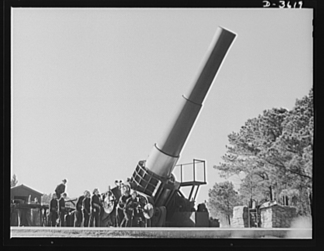 Fort Story coast defense. Men and sixteen-inch gun at Fort Story, Virginia prepare to resist Axis agression