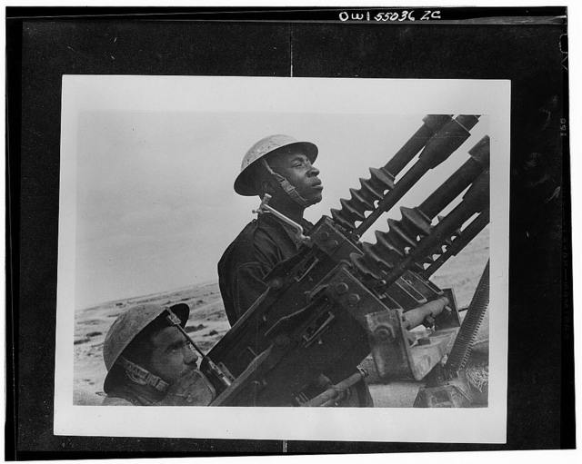 Free French anti-aircraft gunner in action in the Western desert