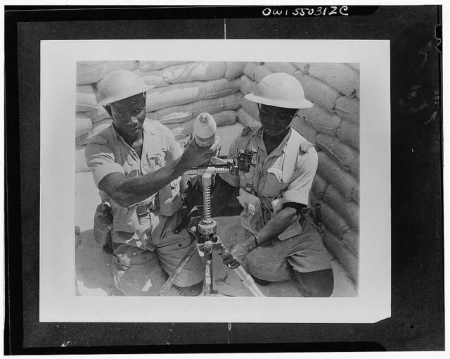 Free French artillerymen with their trench mortar somewhere in the Western desert