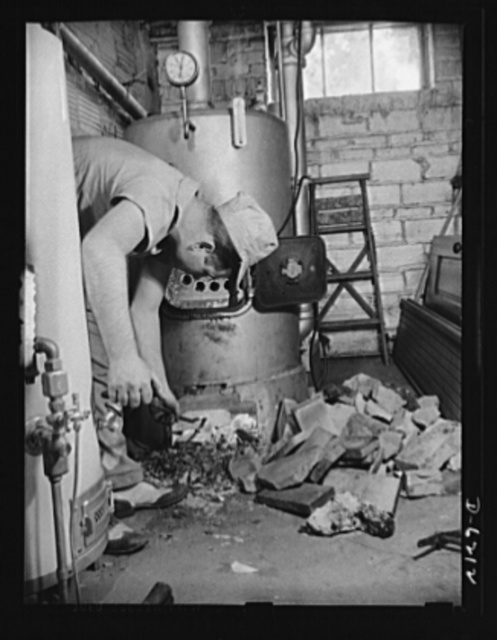Fuel conservation. Conversion of furnace to coal from oil. In face of the drastic fuel oil shortage in the East and rationing of the supplies which are available, homeowners are urged, where possible, to convert oil burning furnaces to coal. Second step is removing fire brick, installed for use with the oil burner
