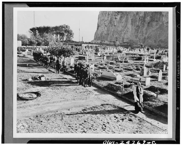 Funeral services for second Lieutenant Paul B. Bateman, American pilot.  Gibraltar