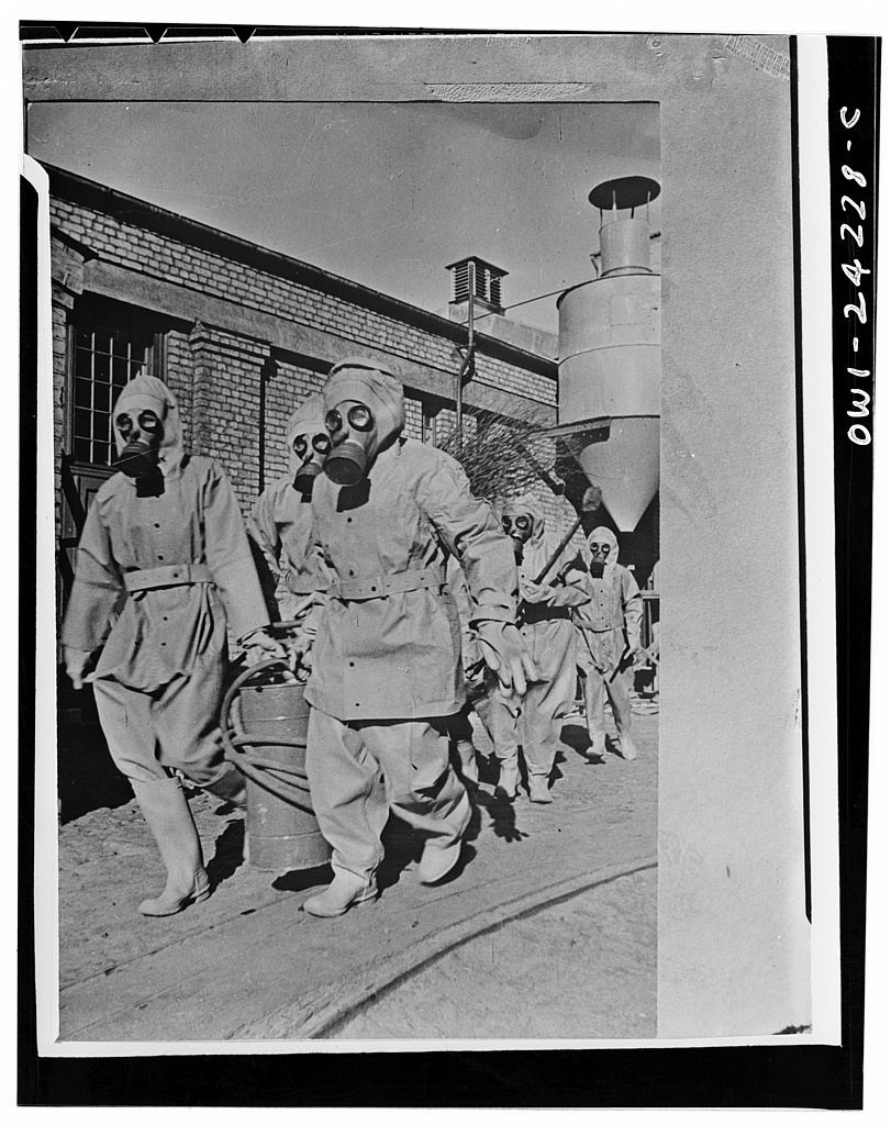 Gas decontamination squad practicing in the USSR (Union of Soviet Socialist Republics)