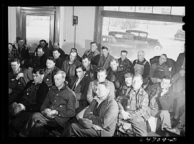 Gladstone, North Dakota. Farmers attending Food for Victory meeting sponsored by the U.S. Department of Agriculture